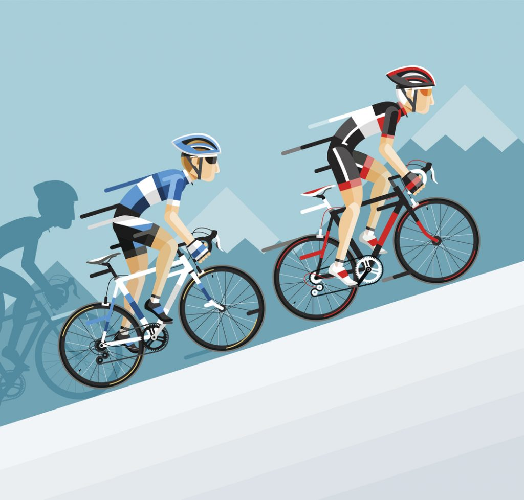 The group of cyclists man in road bicycle racing go to the mountain.