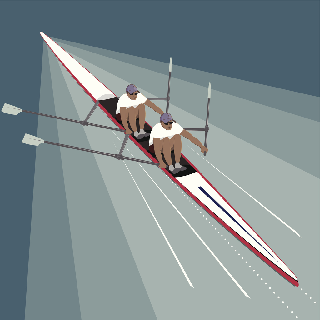 Two rowers working in harmony speeding towards their goal and success.