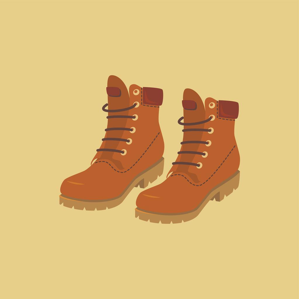 Mustard hiking boots.